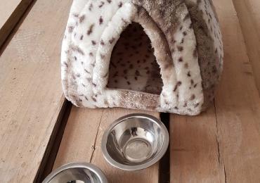 Новый домик для животных + 2 новые миски.