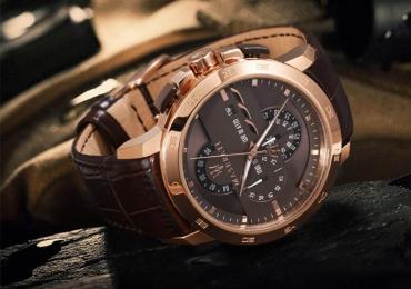 Фирменные, мужские, новые часы MASERATI, покрытие розовое золото, стекло минеральный кристалл(сапфировое)